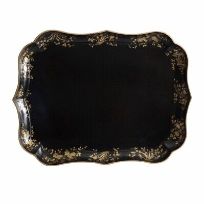Antique English Regency Papier Mache Serving Tray with Gilt, Large