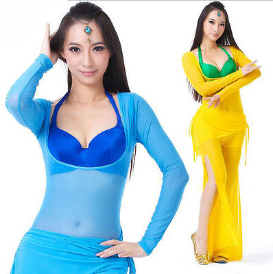 Damen Bauchtanz Belly Dance Yoga Outfit Body Oberteil& Hose Tribal Fusion - Yoga Tanz Kostüm