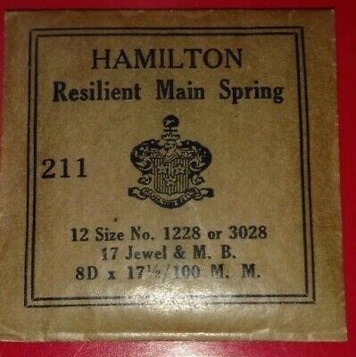 Hamilton Size 12 Pocket Watch Mainspring,1228 or 3028.New/Old Stock.