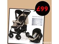 Exdisplay Hauck shopper shop n drive travel system pram pushchair beige black lightweight stroller