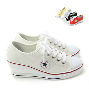 Womens White Sneakers Zip Wedge Heel Shoes