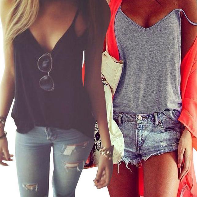 Women Summer Sexy Cami Vest Crop Tops Sleeveless Blouse Casual Tank Tops T-Shirt