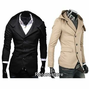 Mens-Slim-Fit-Hooded-Suit-Blazer-Jacket-Coat-Smart-Casual-Hoodie-S-M-L-New