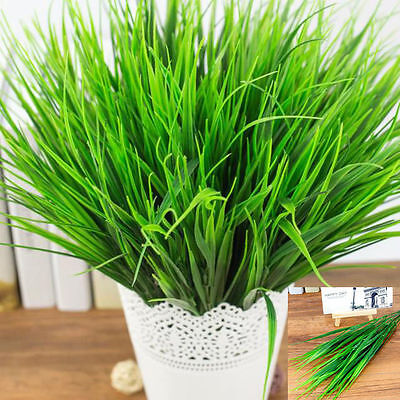 3 Pcs Artificial Fake Plastic Green Grass Plant Flowers Home Office Shop Decor - Decorative Grass