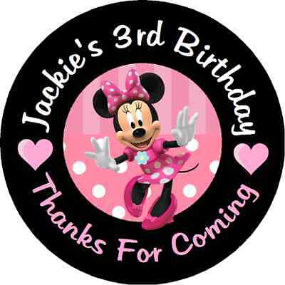 MINNIE MOUSE PINK BIRTHDAY PERSONALIZED ROUND PARTY STICKERS FAVORS LABELS - Pink Minnie Mouse Birthday