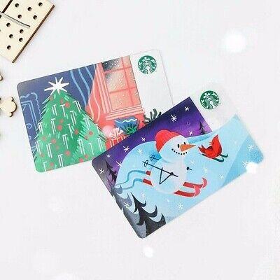 NEW 2019 Starbucks Singapore Snowman & Christmas Tree Festive Cards Set of 2 ()