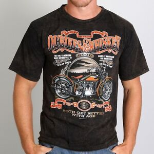 Hot Leathers Ol' Bikes & Whiskey Sand Brown T-Shirt, Size Medium