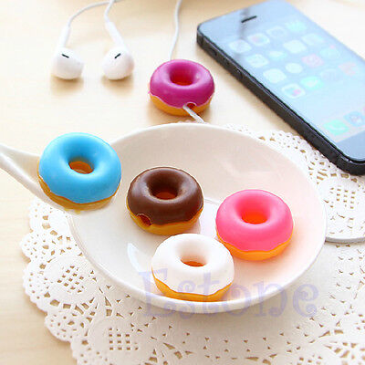 1Pc New MP3 Headset Headphone Sweet Doughnuts Style Earphone Cable Cord Winder