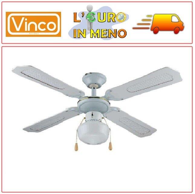 VENTILATORE DA SOFFITTO VINCO 70912 BIANCO CON LUCE 4 PALE 55 WATT 3 VELOCITA'