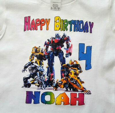 TRANSFORMERS Personalized HAPPY BIRTHDAY T-SHIRT Any Name/Age Super - Happy Birthday Transformers