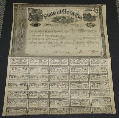 $500 Confederate Bond, State of GA 1862 w/35 coupons