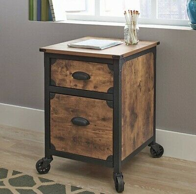 Letter Size File Cabinet Two 2 Drawer Home Rustic End Table Office Storage Wood