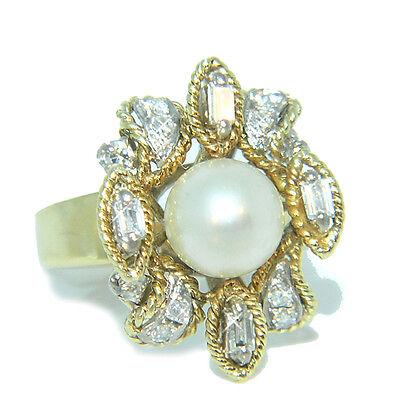 Ein Traum Vintage Perlen Diamantring 585 Gold 18 kt aus den 70èrn TOP