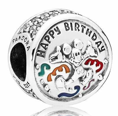 Brand New Genuine Pandora Disney 'MICKEY MOUSE HAPPY BIRTHDAY - HBD' Charm Bead