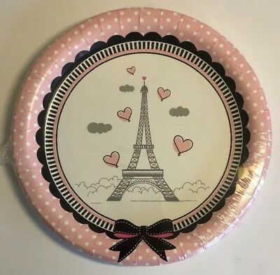 Paris Birthday Party Cocktail / Dessert Plates Eiffel Tower Pink Poodle Dots
