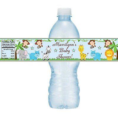 12 Jungle Animals Baby Shower Birthday Party Water Bottle Stickers Monkey Safari