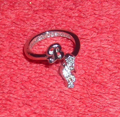 CHILDRENS INITIAL LETTER B ADJUSTABLE SILVER TONE COSTUME JEWELRY RING - Letter B Costumes