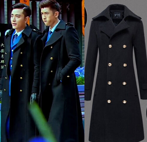 Men's Military Double Breasted Wool Blend Winter Warm Long Trench ...