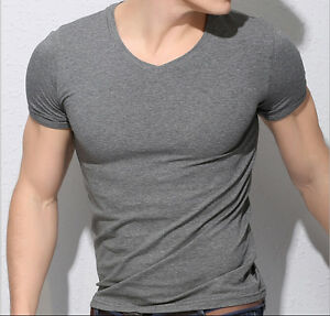 Mens Sport Fashion V Neck Cotton Sport Tight Fit Muscle
