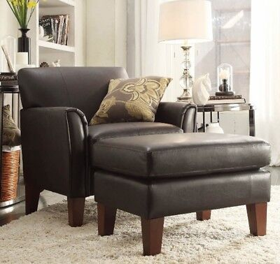 Dark Brown Leather Furniture Accent Chair and/or Ottoman Set Chairs Living Room Living Room Accent Ottoman