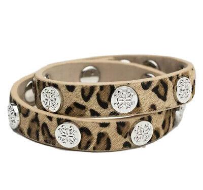 RUSTIC CUFF Meagen Calfskin Leopard Double Wrap Bracelet w/Silver NWOT Red Bag