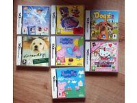 7 Nintendo DS Games: Peppa, Hello Kitty, Dora, Littlest Pet Shop, Nintendogs