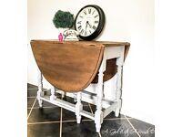 Antique Solid Oak Gateleg Drop-leaf Dining Table