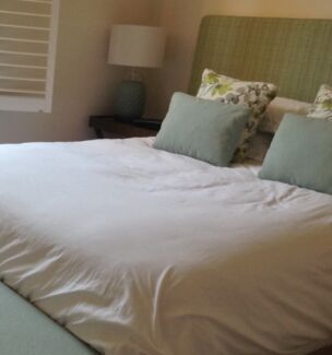 Queen size bed head with coordinating cushions Neutral Bay North Sydney Area Preview