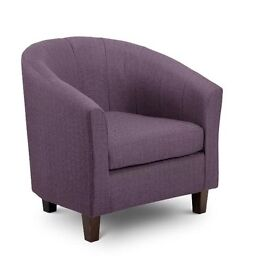 Brand New Plum Tub Chair with Dark Feet
