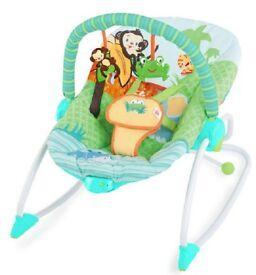 Bright Starts Peek-a-Zoo Baby Rocker - Clean & From Smoke Free Home