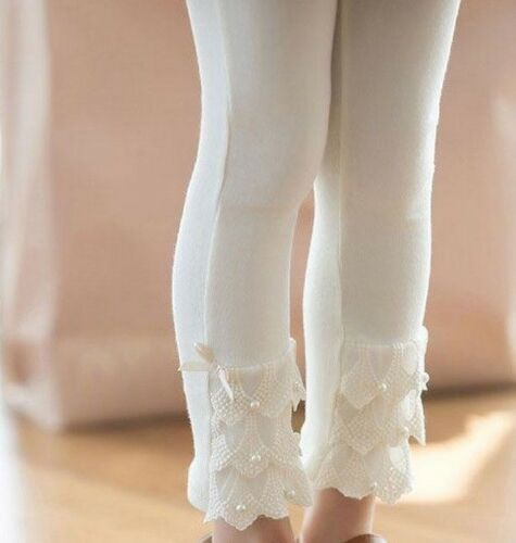 Girls Soft White Footless Tights Dancewear Pearls & Tulle  SZ 2 3 4 5 6X NWT
