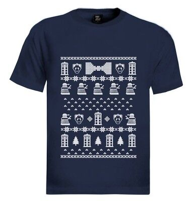 Doctor Who Ugly Sweater (doctor ugly christmas sweater T-Shirt Who POLICE BOX 50th Anniversary Gift)