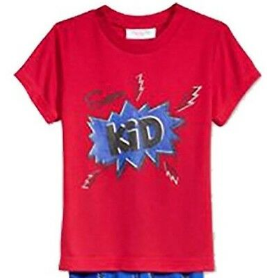 Family PJs Kids Super Kid Pajama TOP ONLY Thunder Bolts Red 4-5 NWT