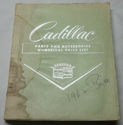 1962 Cadillac Parts and Accessories Numberical Price List 19th Edition Catalog