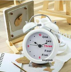 Modern Mute Silent Metal Number Twin Double Bell Desk Table Alarm Clock White