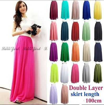 Women's Double Layer Chiffon Pleated Retro Elastic Waist Maxi Long Dress Skirt