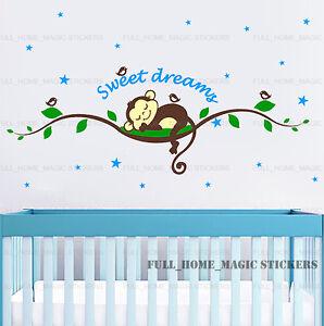 Cheeky Monkey Tree Vine Sleep Wall Sticker Decal Nursery Baby Kids Bedroom Decor