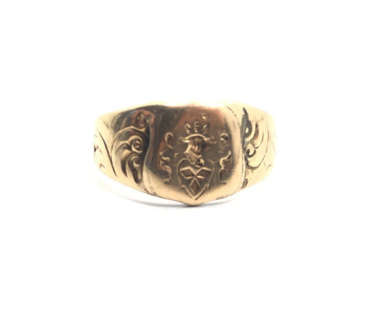 Vintage Victorian Edwardian 14k Yellow Gold Signet Seal Crest Ring Size 7.5
