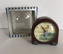 AMAZING FOSSIL SOLID WOOD GOLF DESK MANTLE CLOCK IN ORIGINAL BOX!