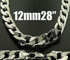 Men's Sterling Silver L/F - 12mmx28inch Curb Link Chain Necklace