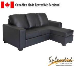 Brand New Canadian Made Leatherette Sectional W Reversible Chaise
