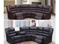 New Roma leather recliner corner sofa black or brown