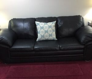 Black Leather Couch for Sale at a Great Price!
