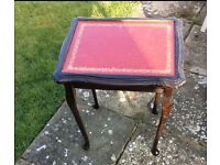 Antique vintage red leather topped side table wood