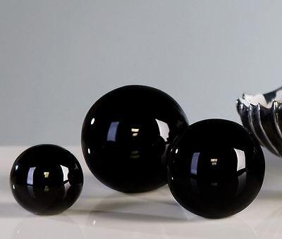 96331 3tlg. Set Dekokugel Blackball aus Keramik schwarz glasiert Ø 5 / 6 / 7 cm