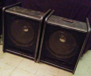 """TWO 15"""" SPEAKERS & CABINETS - for BASS or PA"""