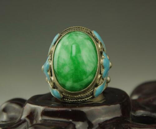 Collectible Chinese Inlay Natural Green Jade Tibet Silver Cloisonne Flower Ring