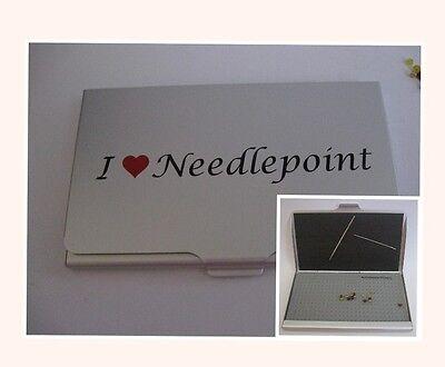 Accoutrement Designs I Heart Love Needlepoint Needle Bead Scissor Case Storage