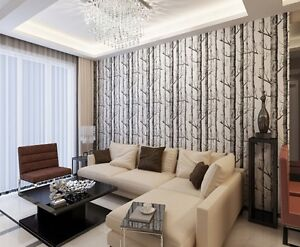 Forest Woods Textured Birch Tree Wallpaper Roll Wall Paper Home Room Decors--FW