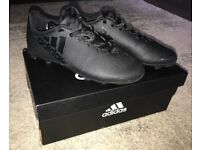 Youth Size UK 1, Adidas X 17.4 Junior Kids Football Boots, Black. Moulded Studs, Like New